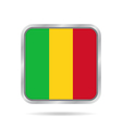 Flag of Mali Shiny metallic gray square button vector image vector image