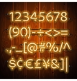 Glowing Neon Numbers on Wooden Background vector image vector image