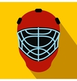 Goalkeeper hockey helmet flat icon vector image vector image