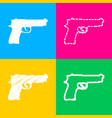 gun sign four styles of icon on four vector image vector image