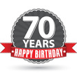 Happy birthday 70 years retro label with red vector image vector image