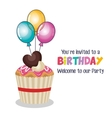 happy birthdaY invitation with balloons air and vector image vector image