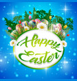 happy easter eggs with frame round vector image vector image