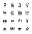 Hotel and Hotel Amenities Services Icons vector image vector image