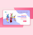 isometric theatre banner vector image vector image
