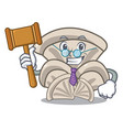 judge oyster mushroom mascot cartoon vector image vector image