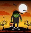 kid and halloween vector image vector image