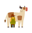 male farmer milking cow farm worker at work vector image