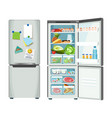 modern fridge with different food set colorful vector image vector image