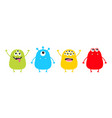 monster set cute cartoon colorful scary character vector image