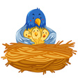 Mother bird and babies birds in nest vector image vector image