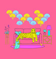 neon colors leopard on a sofa in interior vector image vector image