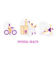 physical health concept sportswomen riding vector image vector image