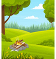 picnic in nature green lawn lush deciduous trees vector image