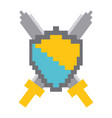 pixelated shield and swords video game vector image