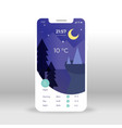 purple nigh weather ui ux gui screen for mobile vector image vector image