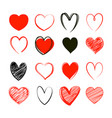red heart valentine symbol set love icon hand vector image vector image