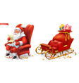 santa claus and sleigh with gifts 3d icons vector image