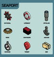 seaport color outline isometric icons vector image vector image