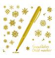set golden hand drawn snowflakes vector image vector image