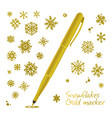 set of golden hand drawn snowflakes vector image