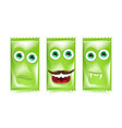 set of green halloween sweets and candies vector image vector image