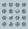 silver coins set vector image vector image