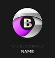 silver letter b logo in the silver-purple circle vector image