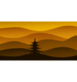 sunset pagoda vector image