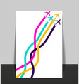 template with colorful airplanes business avia vector image vector image