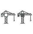 tower crane line and glyph icon lifting and vector image