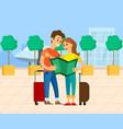 travelers with baggage and map airport vector image