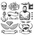 vintage sketch tattoo studio elements set vector image vector image