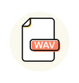 wav file format extension color line icon vector image vector image