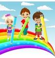 three little children drawing rainbow vector image