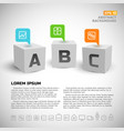 3d cubes and business icons background vector image