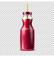 3d purple juice smoothie glass bottle vector image