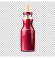 3d purple juice smoothie glass bottle vector image vector image