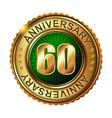 60 years anniversary golden label vector image