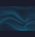 abstract 3d glowing blue wave lines pattern vector image vector image