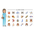 allergy icons and doctor nurse and treatment