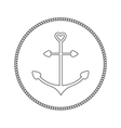 Anchor in shapes of heart Round rope frame label