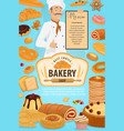 bakery shop pastry cakes and baker man vector image vector image