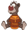 Bear and a wooden keg with honey Cartoon vector image