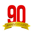 big red number 90 with text anniversary below vector image vector image