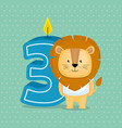 birthday card with candle number three vector image vector image