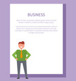 business-related poster depicting cheerful man vector image vector image