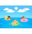cartoon children swim in the sea vector image