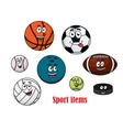Cartoon sport ball characters vector image vector image