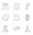 cemetery icons set outline style vector image vector image